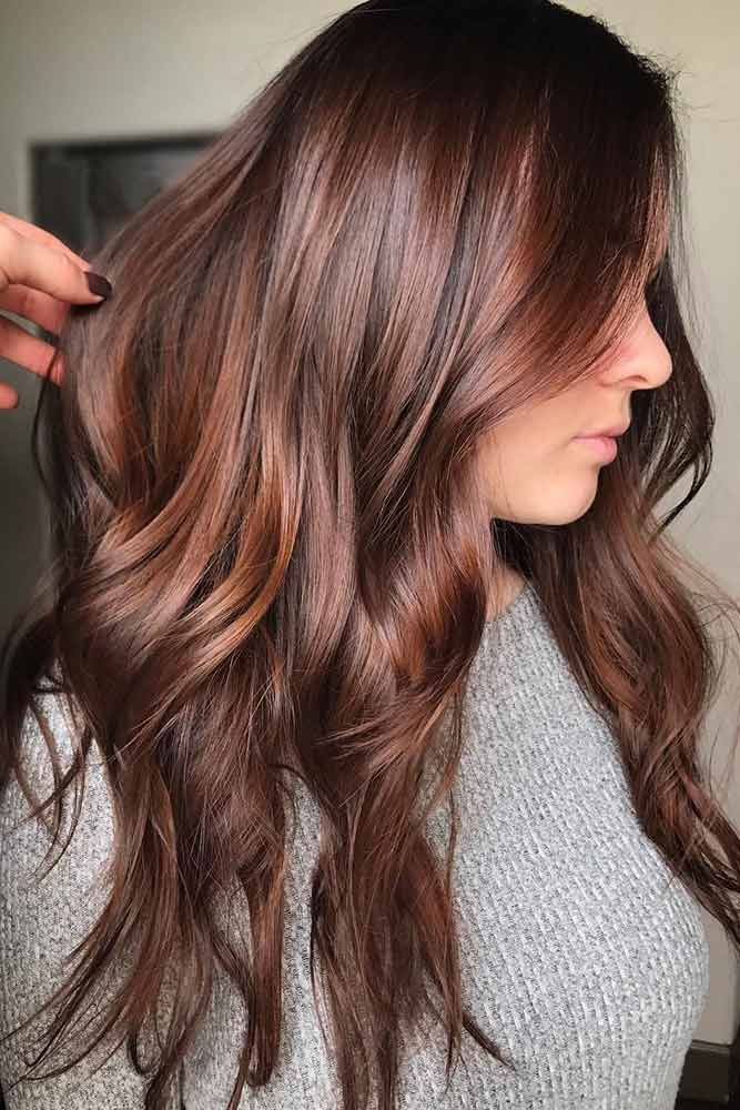Muted Auburn Waves #redhair #brunette #highlights ❤️ An auburn hair color is...