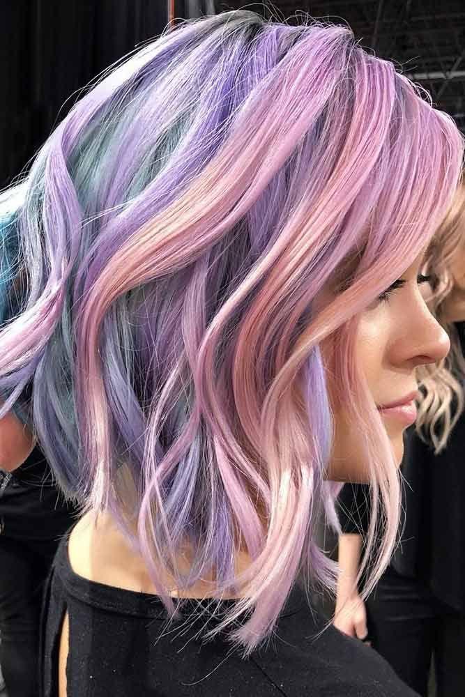 Pastel Rainbow Hair Color for a Wavy Short Inverted Bob #rainbowhair #bob ❤️...