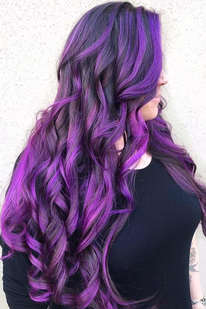 Purple Highlights #brunette #purplehair #highlights ❤️ Purple and black hair...