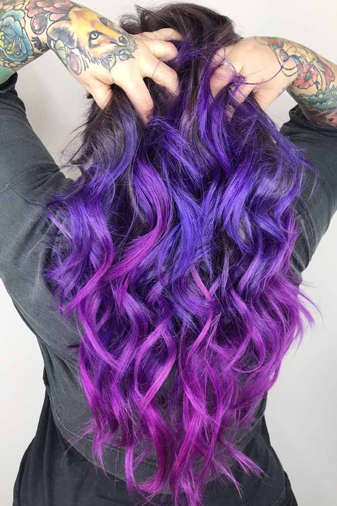 Purple With Red-Violet #brunette #purplehair ❤️ Purple and black hair is not...