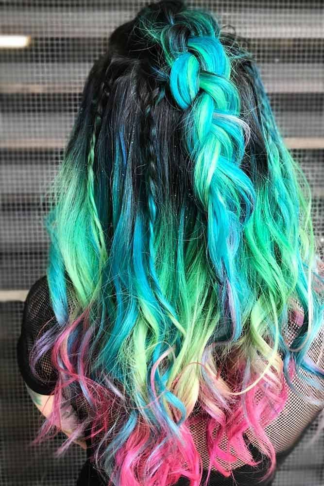 Rainbow Ends For Brunettes #rainbowhair #brunette #ombre ❤️ Today rainbow ha...