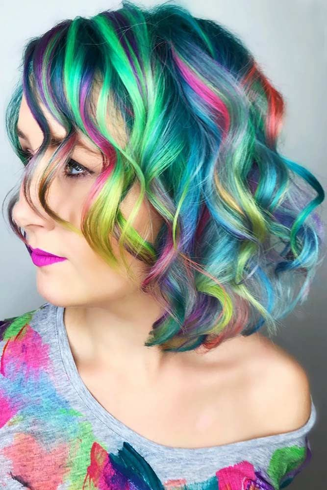 Rainbow Galaxy Colors Highlights #galaxyhair #rainbowhair #highlights ❤️ Are...