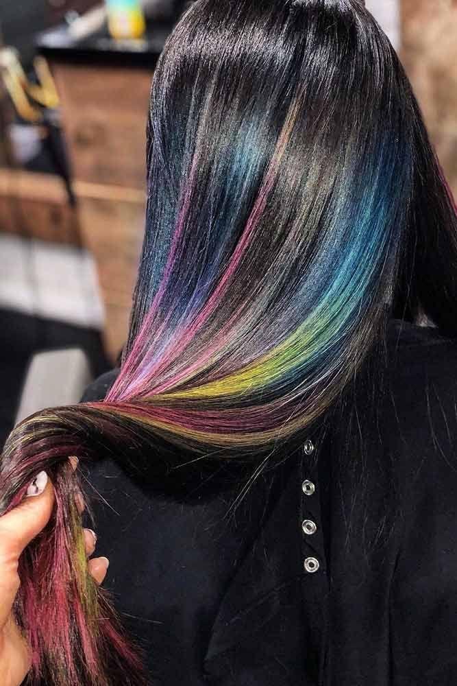 Rainbow Highlights #rainbowhair #brunette #highlights ❤️ Today rainbow hair ...