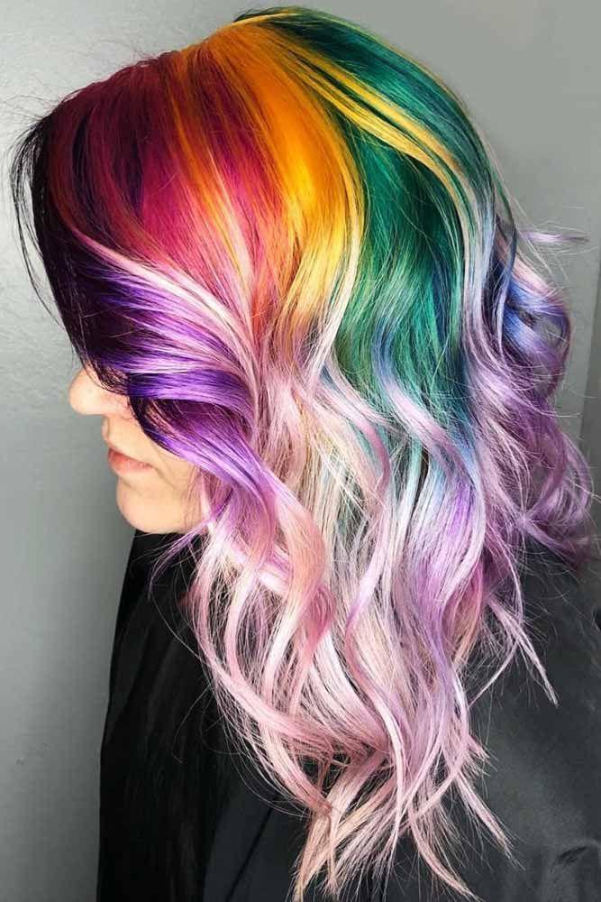 Rainbow Roots Hair #rainbowhair #ombre #highlights ❤️ Today rainbow hair is ...
