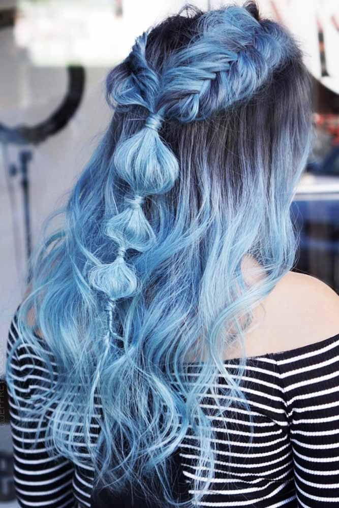 Smokey Pastel Blues #bluehair #brunette #ombre ❤️ What about blue ombre hair...