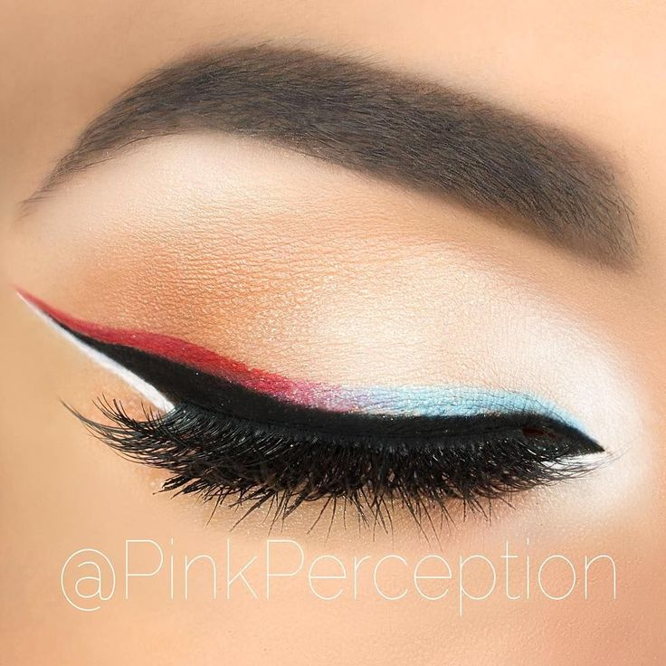 4th of July inspired patriotic eye makeup look #holiday #makeup Red, White and B...