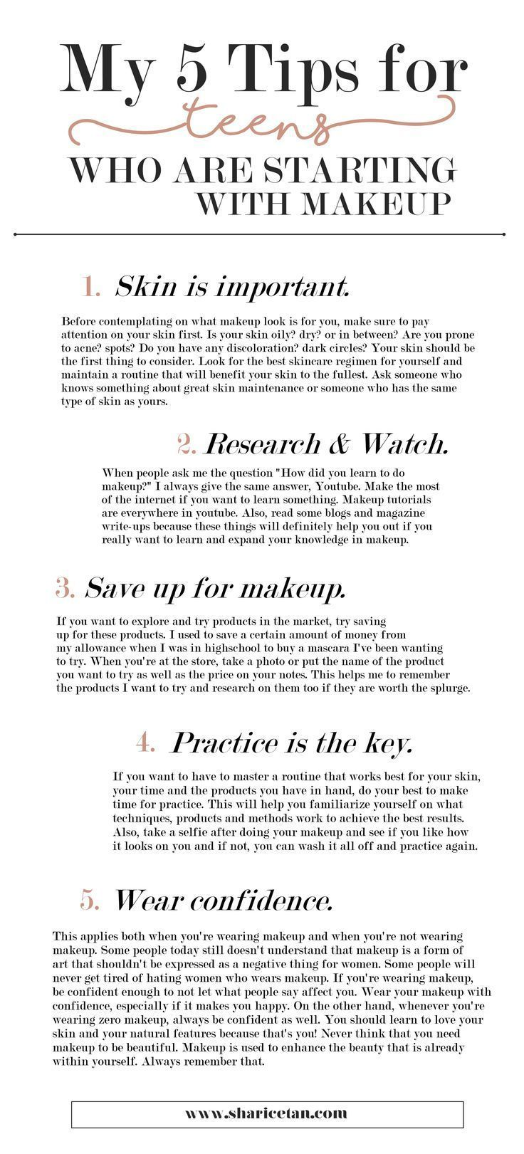 5 Tips for teens who are starting with makeup. Makeup Tips for Teen Beginners. #...
