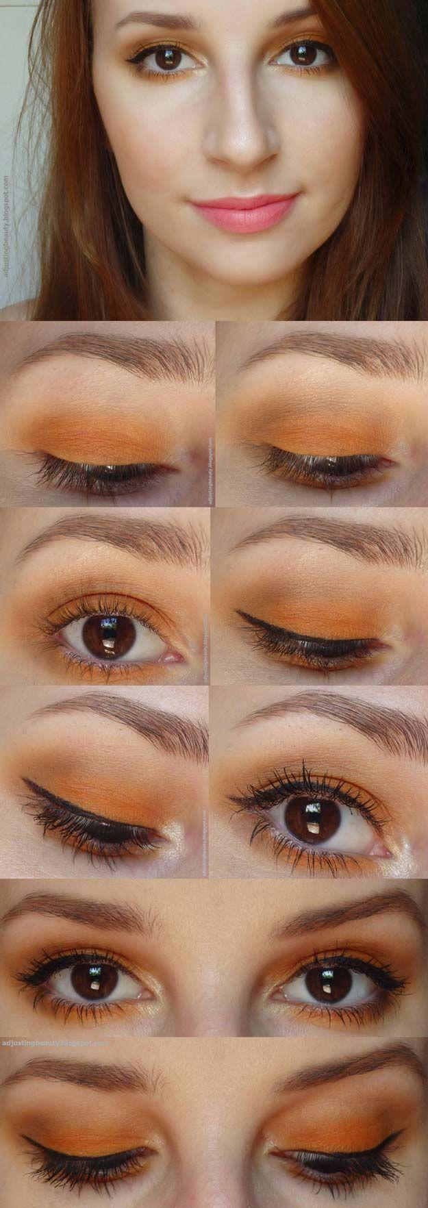 Best Eyeshadow Tutorials - Orange Eye Makeup - Easy Step by Step How To For Eye ...