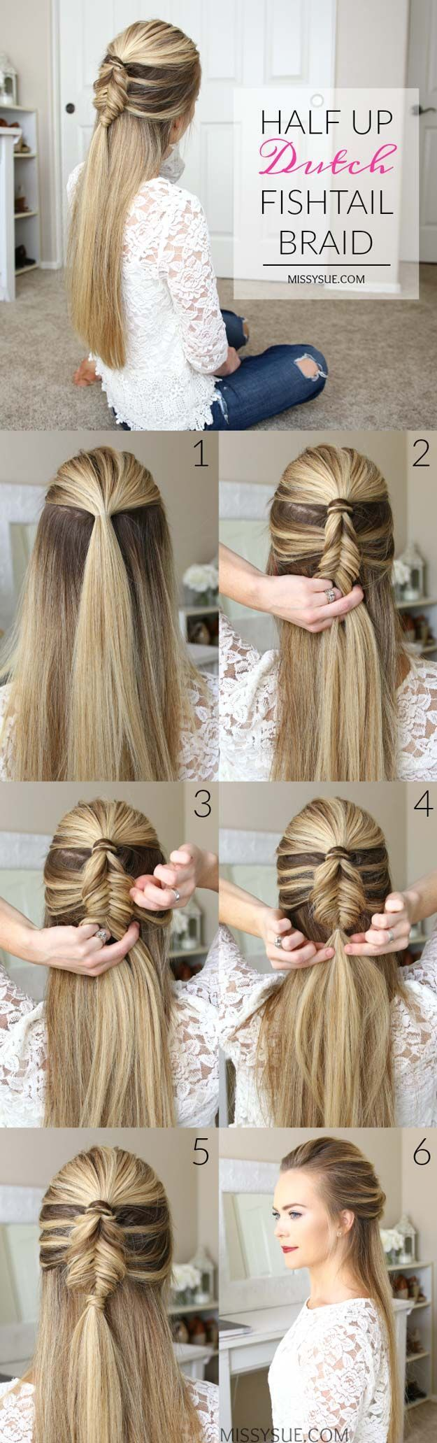 Best Hair Braiding Tutorials - Half Up Dutch Fishtail Braid - Easy Step by Step ...