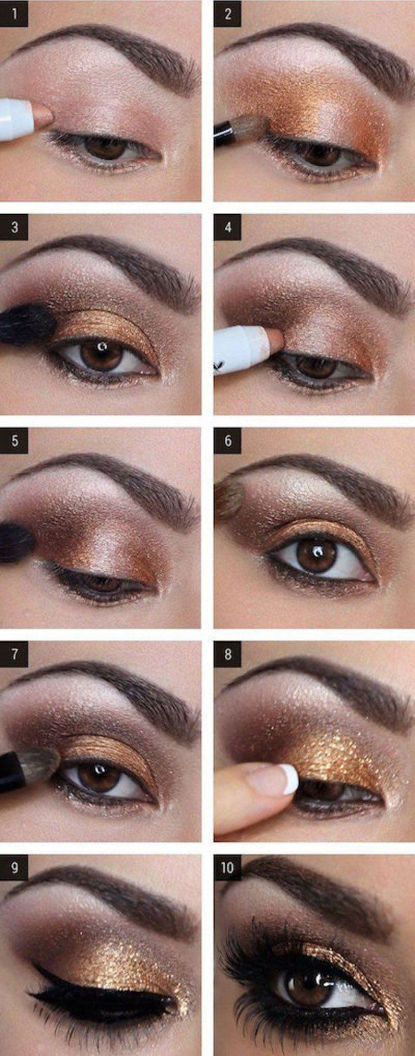 Glam Gold Eyeshadow Tutorial For Beginners | 12 Colorful Eyeshadow Tutorials For...