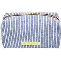 Tartan + Twine Chambray Travel Makeup Organizer Light Blue Stripe