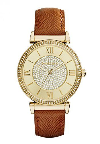 Michael Kors Watches Catlin Leather Watch Brown ** Want additional info? Click o...