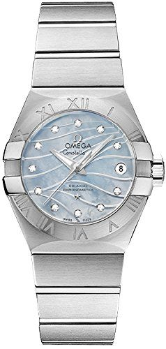 Omega Constellation Co-Axial Blue Mother of Pearl Diamond Dial Stainless Steel L...