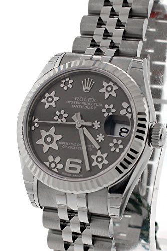 Rolex Datejust 31mm Dark Rhodium Floral Motif Dial Jubilee Bracelet Automatic La...