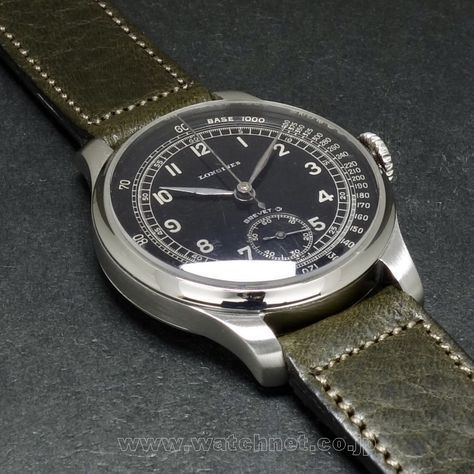 "1930's LONGINES C.12.68z ""Stop second"" Black dial 