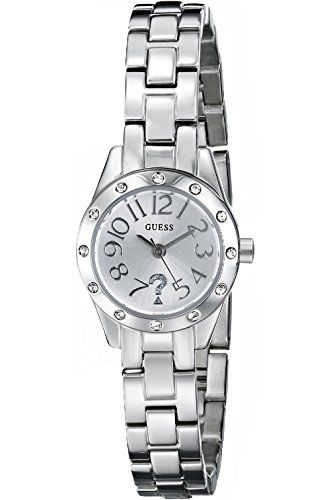 GUESS W0307L1 Silver-Tone Watch with Genuine Crystal Accents and Self-Adjustable...