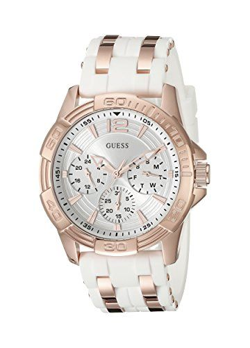 GUESS Women's U0615L1 Comfortable White Silicone and Rose Gold-Tone Multi-Fu...