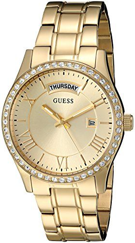 GUESS Women's U0764L2 Dressy Gold-Tone Stainless Steel Multi-Function Watch ...