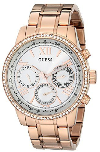 GUESS Womens U0559L3 Sporty Rose GoldTone Stainless Steel Watch with Multifuncti...