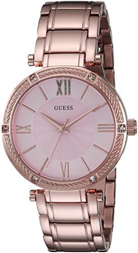 GUESS Womens U0636L2 Dressy Rose GoldTone Watch with Textured Pink Dial  and Sta...
