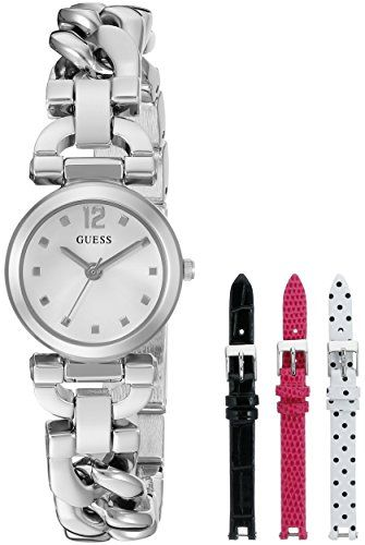GUESS Womens U0712L1 Feminine SilverTone Watch Set with Metal Bracelet and 3 Int...
