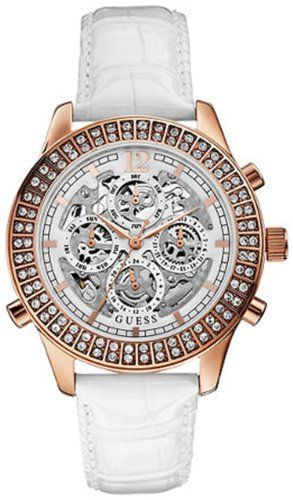 Guess U0020L1 fascinating automatic white exhibition chrono dial leather strap w...
