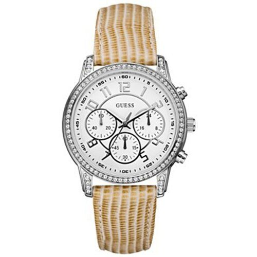 Guess Womens U13602L2 Gold Leather Quartz Watch with White Dial * Visit the imag...