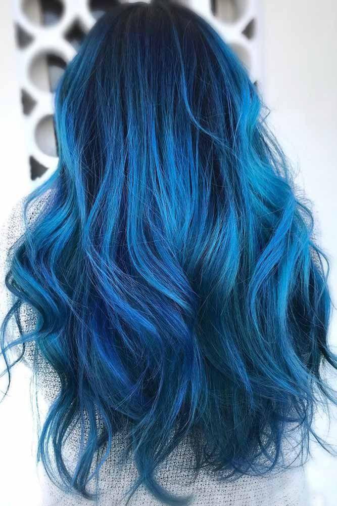 Black Cobalt Hair #bluehair #brunette #ombre ❤️ Blue black hair color has be...