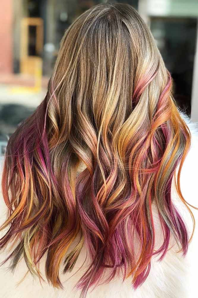 Hair Color 2017 2018 Blonde With Pastel Red Highlights