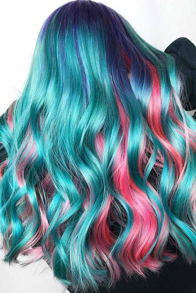 Blue Roots And Hidden Pink #tealhair #pinkhair ❤️ What can compare to the go...