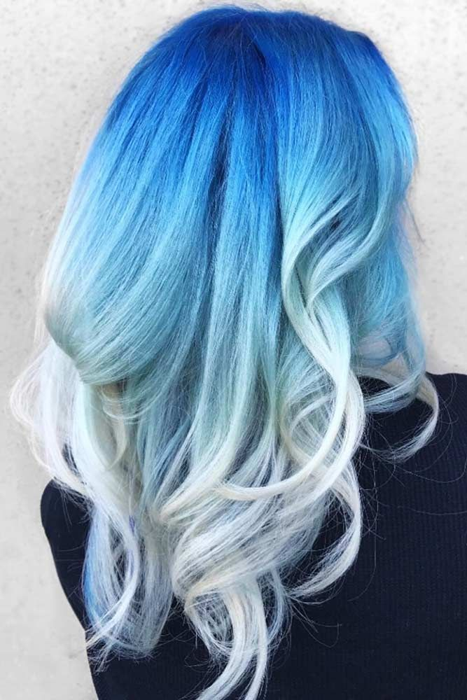 Blue To Ice Blonde #bluehair #blondehair #ombre ❤️ What about blue ombre hai...