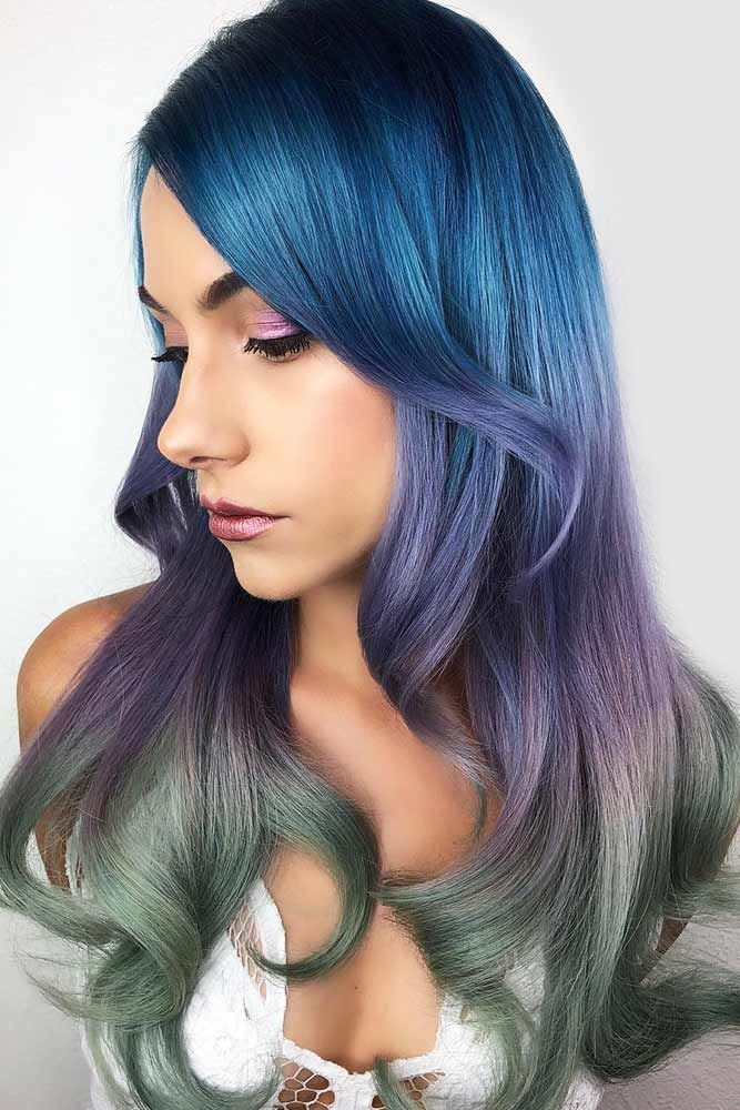 Blue To Purple Green #bluehair #purplehair #greenhair ❤️ What about blue omb...