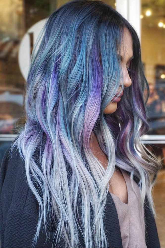 Blue To White Ombre With Purple Streaks #bluehair #blondehair #ombre #purplehair...