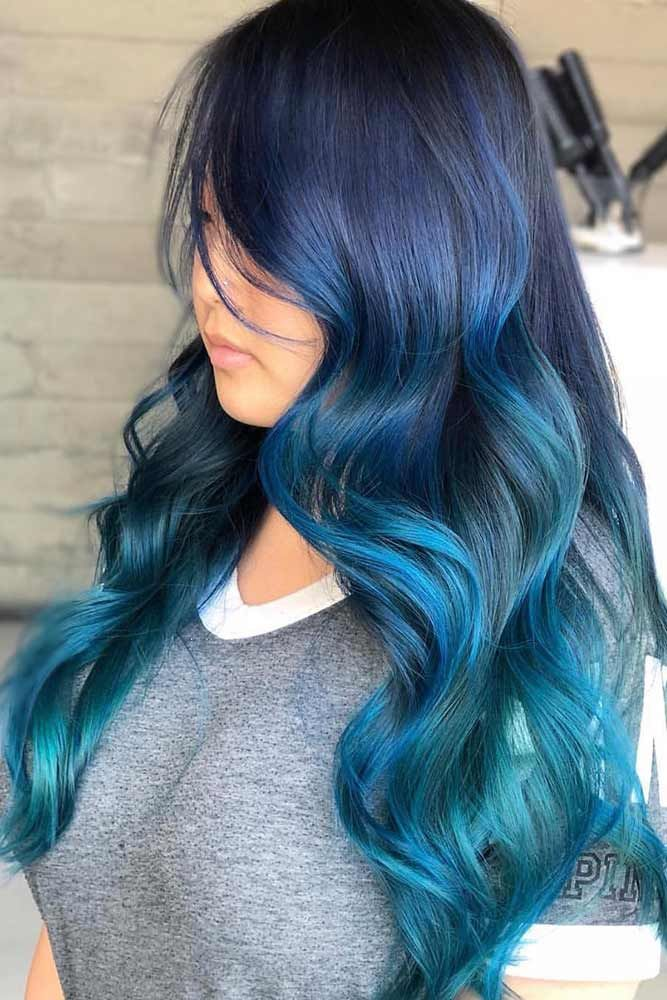 Brunette Blue With Hidden Teal #tealhair #bluehair #brunette #ombre ❤️ What ...