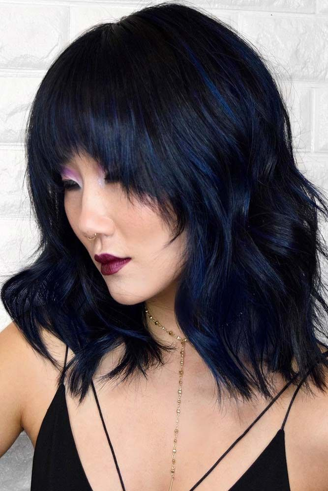 Dark Metallic Blue Highlights #bluehair #brunette #highlights ❤️ Blue black ...