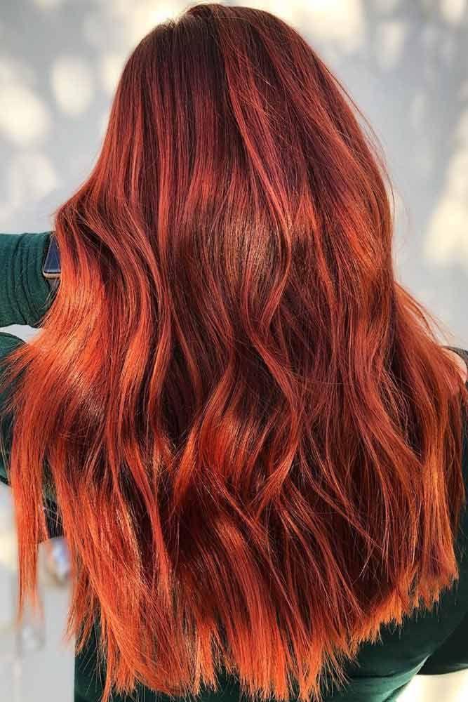 Fiery Auburn Balayage #redhair #balayage ❤️ An auburn hair color is the tren...