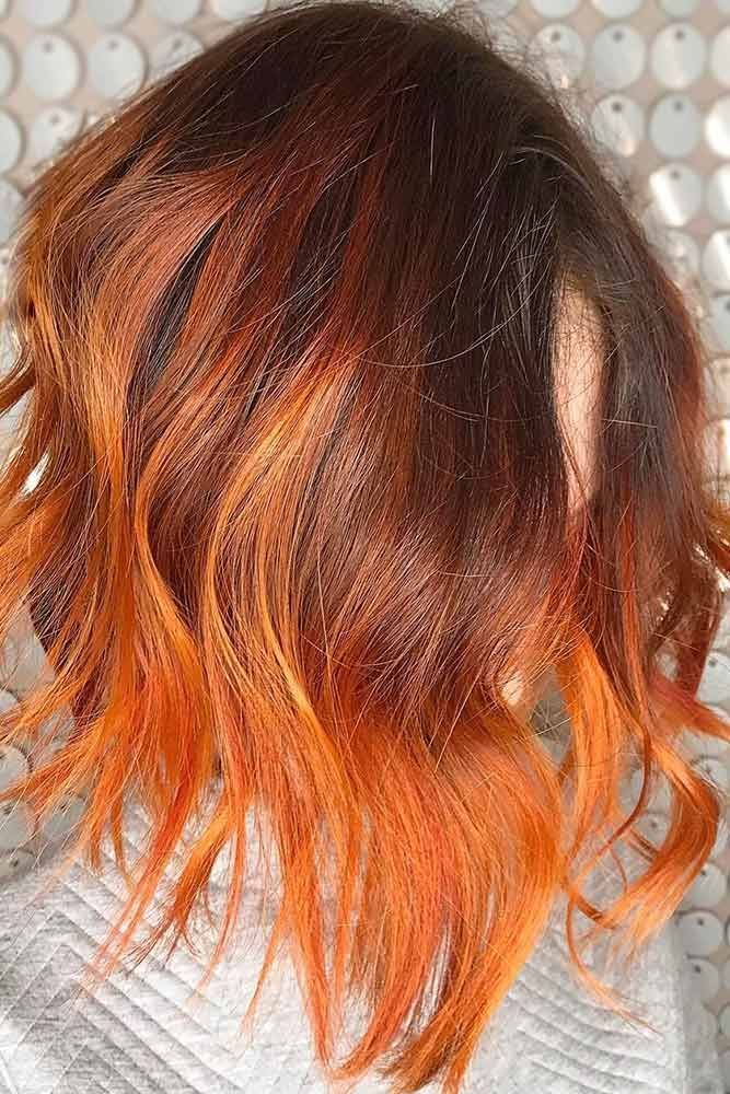 Fiery Light Red #redhair #highlights #brunette ❤️ Want to spice up your hair...