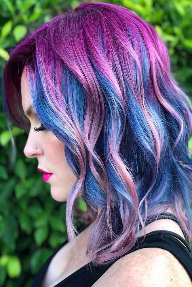 Fuchsia Purple With Blue #purplehair #bluehair ❤️ Purple and blue hair hair ...