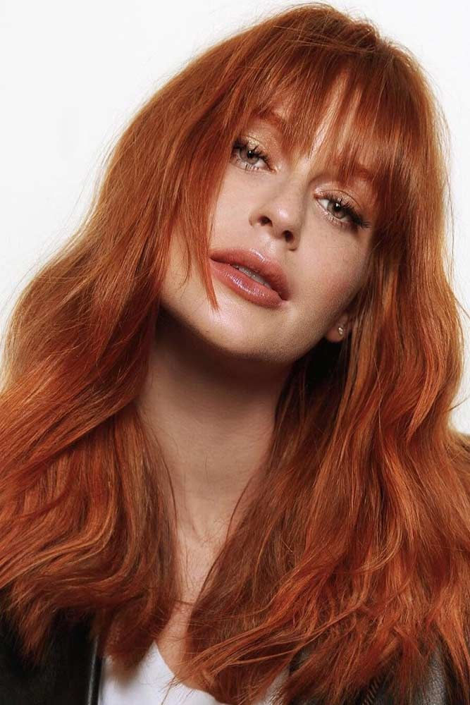 Ginger Crimson Hair Color #redhair #bangs ❤️ We've found for you the best ...