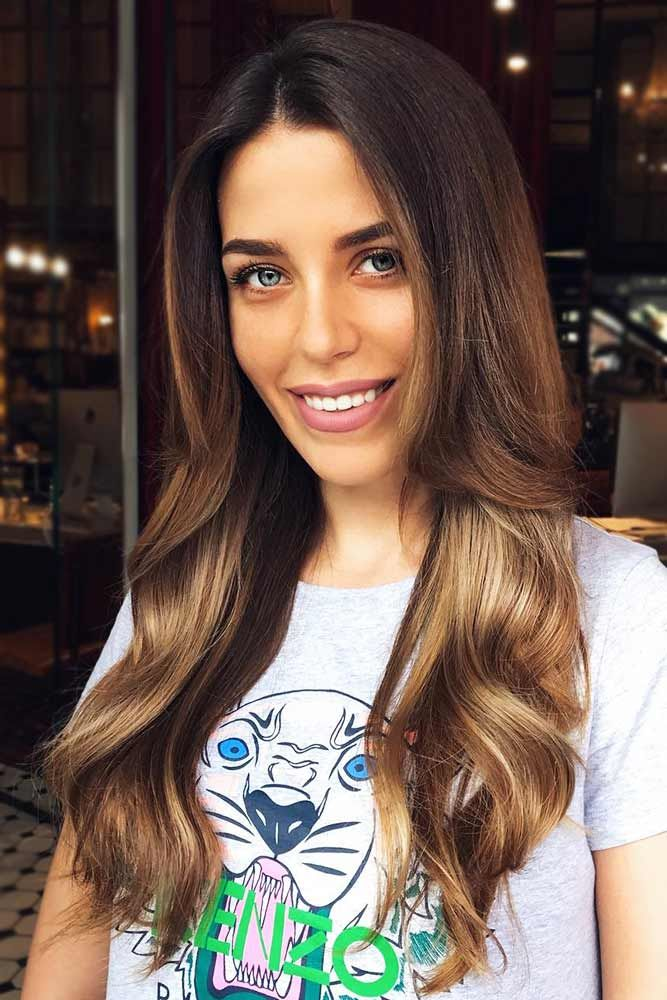 Gold Ombre On Dark Brown Base #brownhair #blondehair #brunette #ombre ❤️ Bro...