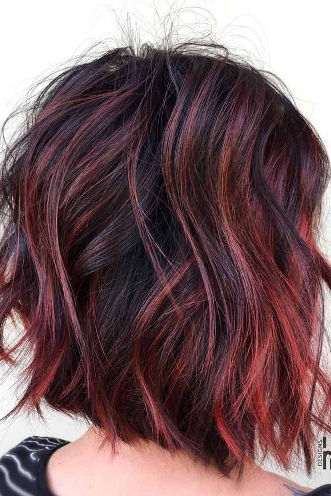 Intense Violet Red Highlights #brunette #redhair #highlights ❤️ Want to spic...