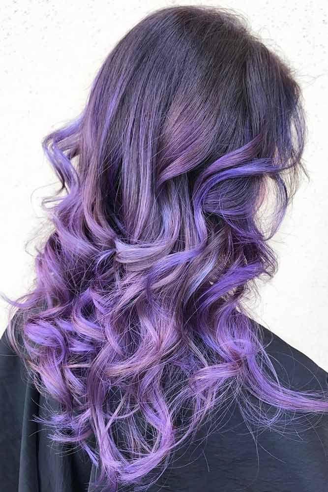 Lavender Purple Tint #brunette #purplehair #balayage ❤️ Purple and black hai...