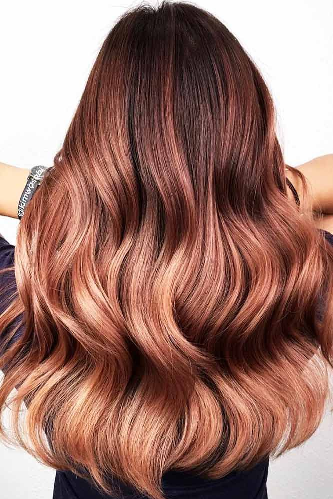 Mahogany To Rose Gold Ombre #redhair #ombre ❤️  Mahogany hair is a must for ...