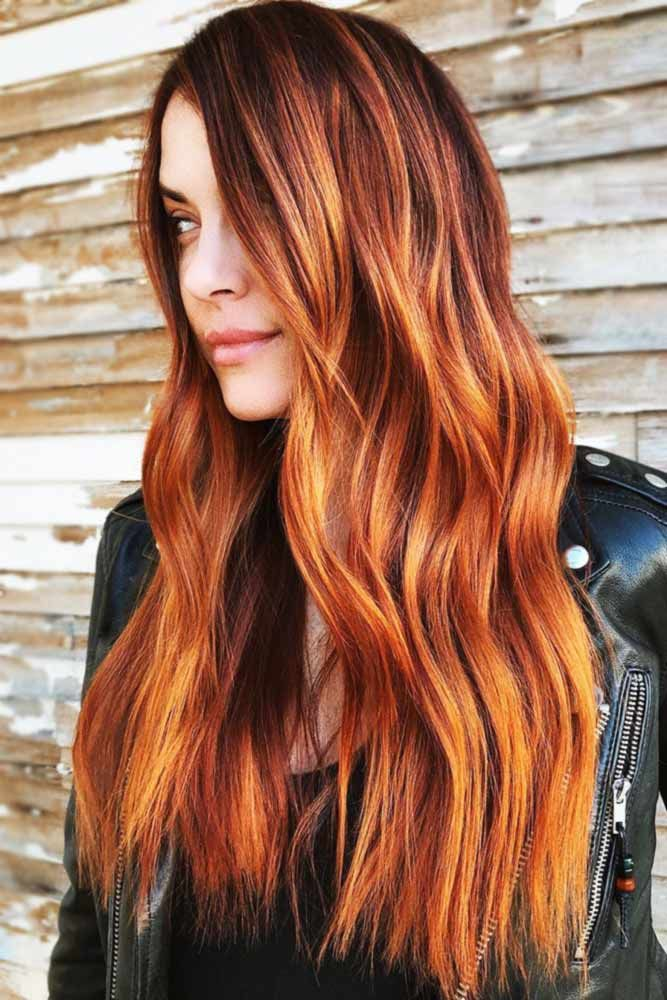 Metallic Auburn With Copper Tones #redhair #balayage ❤️ An auburn hair color...