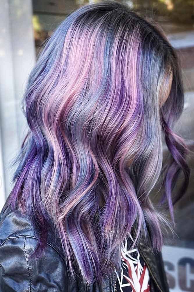 Metallic Overdose #purplehair #highlights ❤️ Purple and blue hair hair style...
