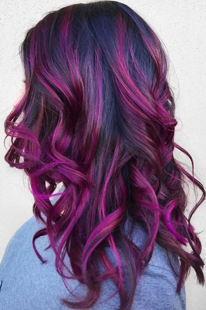 Mulberry Purple Locks #brunette #purplehair #highlights ❤️ Purple and black ...