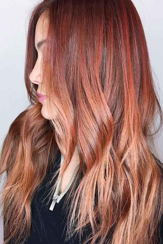 Multicolor Auburn Sorbet #redhair #ombre ❤️ An auburn hair color is the tren...