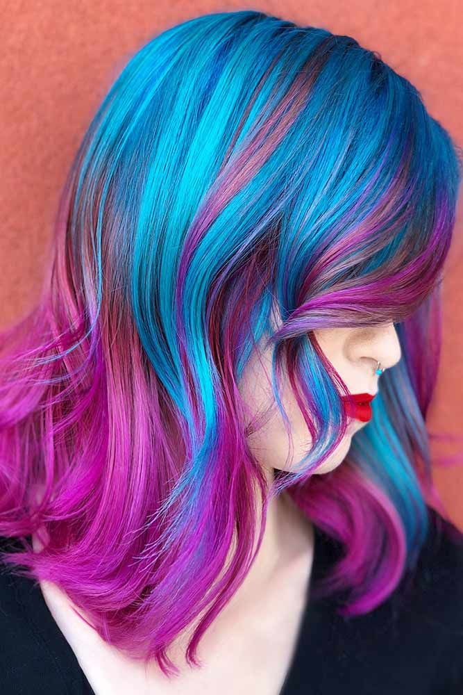 Ocean Blue With Purple #purplehair #bluehair ❤️ Purple and blue hair hair st...