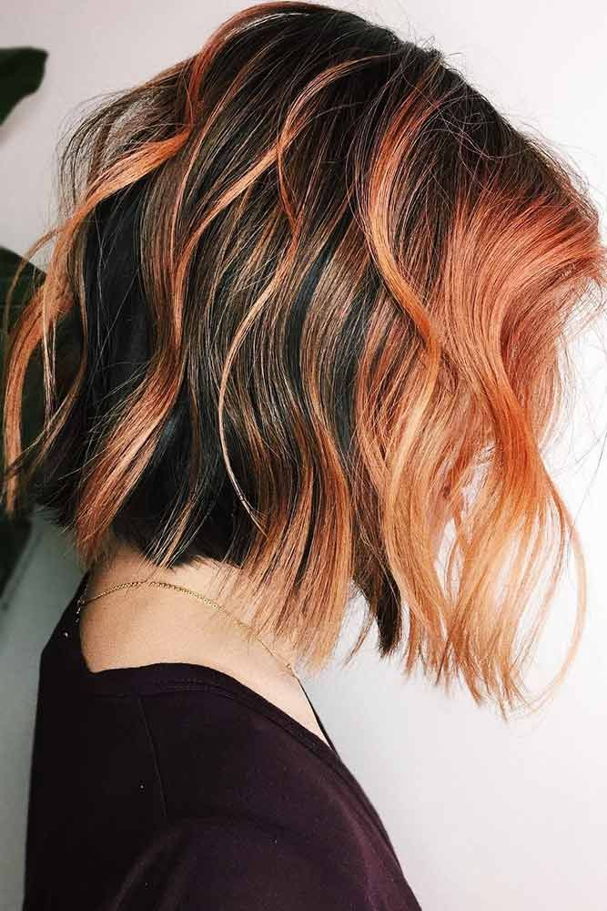 Peach Red On Black Hair #brunette #redhair #highlights ❤️ Want to spice up y...