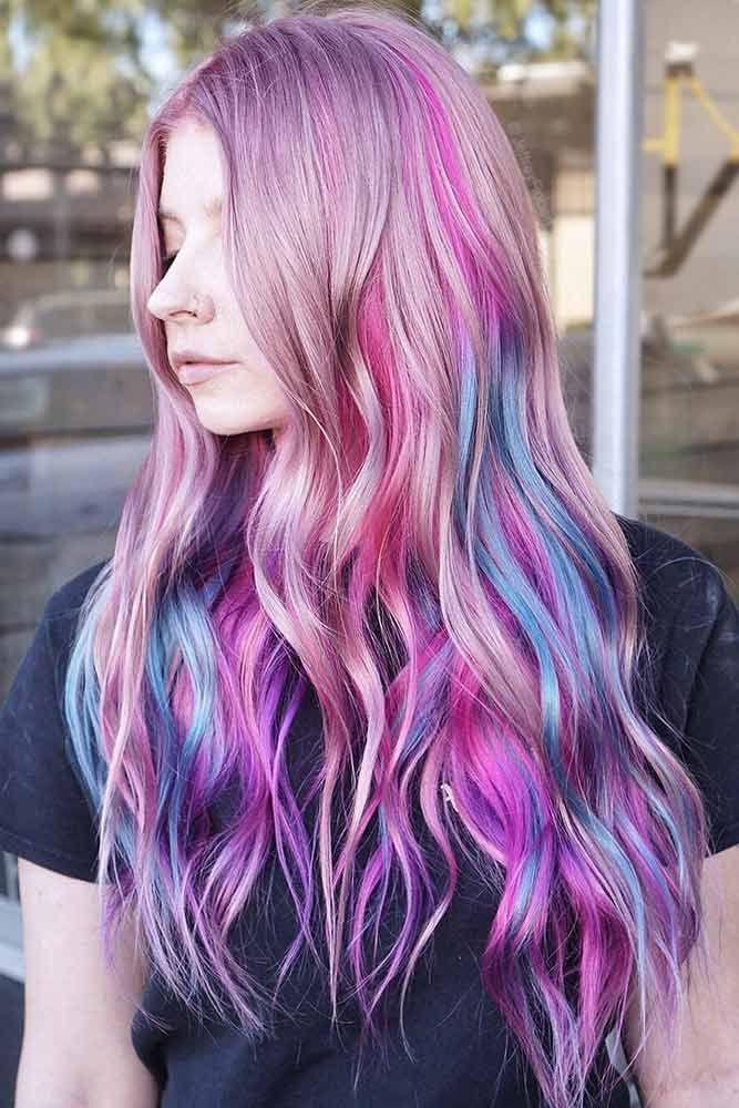 Pink Veil Unicorn #purplehair #highlights ❤️ Purple and blue hair hair style...